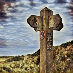Signpost along the Pembrokeshire Coastal Path - Prisma filter (Randy Durrum) Tags: pembrokeshire wales signpost path walk hike walking symbol icon surrum