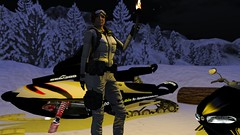 By First Light (alexandriabrangwin) Tags: alexandriabrangwin secondlife 3d cgi computer graphics virtual world photography winter snow snowy land outdoors forest snowmobile gear flaming torch night expedition wilderness rope climbing padded pine trees gloves dropleg holster guns