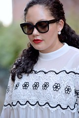 The Power of a Statement Shoe (GirlWithCurves) Tags: redflats jcrewshoes girlwithcurves redlipstick celineaudreysunglasses