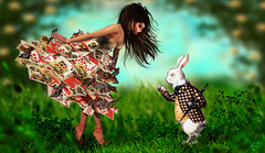 Do we have time ? (meriluu17) Tags: boudoir cards wonderland aliceinwonderland rabbit animal paper grass outdoor people fantasy fairtale tale queen surreal magic magical pet