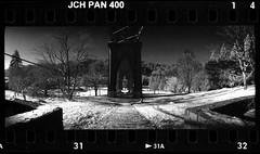 St. Johns Bridge 9am 1701xx31 (jimhairphoto) Tags: stjohns bridge portland oregon widelux panorama japancamerahunter jch streetpan 400 infrared 35mm film blackandwhite blancetnoir schwarzeaufweis blancoynegro blancinegre siyahrebeyaz jimhairphoto