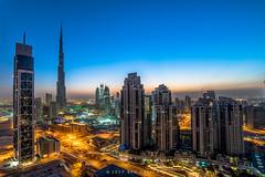 Good Morning Dubai! (Ben Zavala) Tags: 2016 benzavala bluehour burjkhalifa city citylights dawn dubai dxb sky skyline skyscrapers sonya7 sunrise