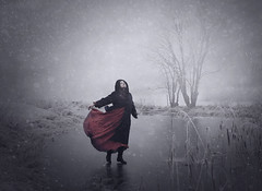 In The Eye Of The Storm (Maren Klemp) Tags: fineartphotography fineartphotographer winter snow woman landscape naturallight nature outdoors fog foggy running ice storm evocative ethereal selfportrait portrait conceptual dreamy painterly reddress movement dramatic expressive
