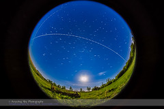 Space Station Overhead Pass #1 (Amazing Sky Photography) Tags: nightscape aircraft satellite solstice spacestation prairie iss startrails waxingmoon circumpolar allsky fulldome advancedstackeractions moonlightfisheye