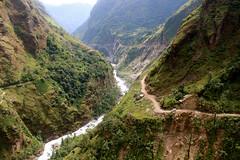 Jeep (vonsolo) Tags: road nepal shadow cliff green danger trek river landscape rainforest asia jeep dirt jungle circuit annapurna himalayas