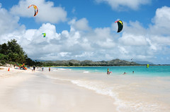 Soft Surf (AngelK32) Tags: ocean travel blue usa beach clouds island hawaii bay surf unitedstates pacific oahu sunny northshore tropical whitesand kailua parasurf 24mmf28d primelens nikond90