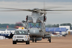 Royal Navy Merlin HM.1 (Tangoman11) Tags: grey taxi military rover marshall helicopter merlin vehicle naval landrover discovery rn fairford followme riat royalnavy 2015 mh1 zh836