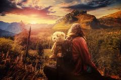 Make a wish (Chrisnaton) Tags: sunset mountains nature girl childhood switzerland sundown hiking backpack eveningsky wonderland eveninglight makeawish amden fairytail eveningmood eveningcolors hochmoor sittingonabench girlwithateddybear amdenerhöhenweg momentforeternity