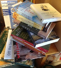 A pile of current reading beside the bed. (spelio) Tags: travel australia email act ipad australiancapitalterritory 2015
