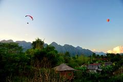 Vang Vieng (makingacross) Tags: laos pdr nikon d3000 vang vieng vangvieng mountains sky trees paraglider hot air balloon hotairballoon