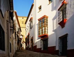 Morning in Ronda (Tiigra) Tags: ronda andalucía spain es 2015 architecture balcony flower lattice passage road shadow town window