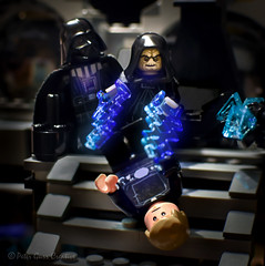 Hate Leads to Suffering (Peter Gurr Creative) Tags: returnofthejedi return jedi emperorpalpatine emperor palpatine sith sithlord darthvader darth vader lukeskywalker luke skywalker lego legominifigure starwars star wars force forcelightning deathstar death throneroom throne room lightning steps hatred hate suffering anakinskywalker anakin nikon d7200 dslr toy toys toyphotography revenge