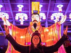 Techno Confucius (Vincent F Tsai) Tags: chinese lantern display night lights led colorful colours color portrait pose silly panasonic leicadgsummilux25mmf14 lumixgx8