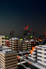 War of the Worlds (TOKYO TAG TEAM) Tags: lego waroftheworlds tripod walkers fire cityscape