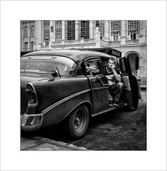 Taxi driver (tkimages2011) Tags: taxi driver havana habana car man mono monochrome cuba work bored stare wheels tyres classiccar 50scar chevrolet chevy