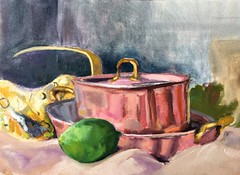 Lime and Copper (Handwork Naturals) Tags: copper pots pans belgium catskill newyork dailypainting lime painting mom gift scour hudsonvalley edenscovillehart