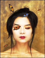 moulann butterflies (torontofotobug) Tags: red portrait woman face gold golden dream butterflies surreal lips geisha mysterious dreamy visualpoetry moulann evocative toppics picturethecure2006 annedehaas annedehaasutatafeature