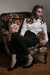 Aunt Effie's Chair (isto-ica) Tags: portrait chair floral heels longshot female girl flowers highsociety
