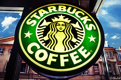 Starbucks is taking over the world! (iKhalid) Tags: world new old uk blue sky cloud building green coffee canon circle star cafe starbucks oxford brand coffeeaddiction alwaysonmymind