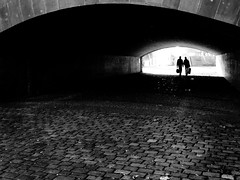 tunnel of love (matthias hämmerly) Tags: matthias hämmerly haemmerly switzerland world street photography shoot black white bw candid going collecting story faces journalism real honest moments decisive moment creative lens scene strassenfotografie frame man ricoh gr gr2 2 contrast berlin bridge dark cold winter