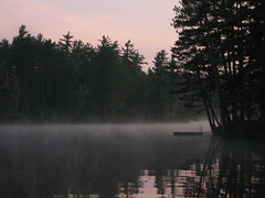It's really quiet (soozclooz) Tags: wakanda lake dock mist adirondacks mountains water pinksky pinetrees reflection rainbow seasons