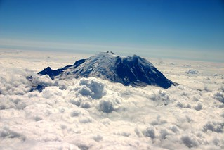 Mt Rainier peaks through the clouds