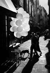 A Couple Walking their Dog past Balloons - by Aeioux