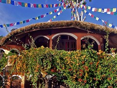 Anadu house with tibetan prayer flags (manadu) Tags: nepal house home thatchedroof pokhara