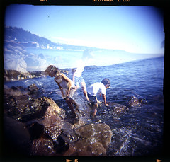 double fun (jon madison) Tags: seattle 120 film beach water kids holga play doubleexposure xx slide double alki mf e6 kodake200 damagedfilm jonmadisoncom