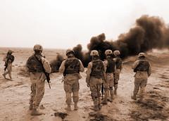 Oil Leak Recon (YourLocalDave) Tags: iraq pipeline oil smoke fire sepia soldier desert oif