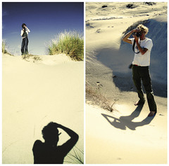 duel on the dune (...cathzilla) Tags: camera shadow sky me diptych play dune squareformat duel shooter sandhill bangbang rougerouge