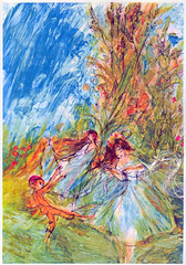 ting-a-ling (dogwelder) Tags: colors illustration pen ink watercolor outdoors book colorful 1966 fairy fairies zurbulon6 childrensbook tingaling goldentreasuryofchildrensliterature zurbulon gatturphy