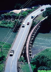 WaimeaBridge (mcshots) Tags: usa hawaii oahu island bridge cars river plants rainforest waimeariver traffic northshore tropical trees mcshots kamhighway street road highway coast