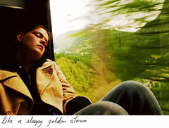 (-Antoine-) Tags: sleeping storm motion green girl train golden switzerland suisse sleep topc50 vert sleepy transit zermatt cohen transition svizzera ge dormir topf100 genevive genevieve mouvement sommeil tccomp032 world100f antoinerouleau