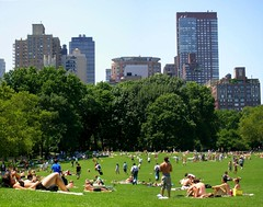 Upper West Side, from Central Park (_MaO_) Tags: 2005 park nyc blue trees summer sky usa sunlight ny newyork green grass buildings relax fun nikon afternoon centralpark manhattan july sunbath coolpix upperwestside summertime s1 nikons1 sunbathing uws sheepmeadow coolpixs1