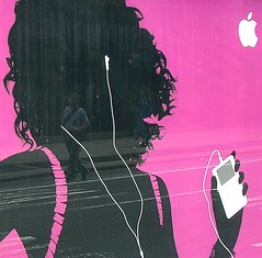 Pink iPod reflection (_MaO_) Tags: 2005 life street nyc morning pink summer people usa ny newyork reflection apple walking advertising square nikon downtown ipod phone manhattan broadway july sunny crop advert coolpix cropped summertime s1 nikons1 squared quadrato coolpixs1 broadwaysouth ritagliata