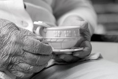 tea party with Great Grandma (-Angela) Tags: 2005 family summer blackandwhite topf25 canon hands bravo 2550fav teacup teaparty 2005top100faves