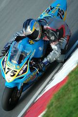 No 75. (frielp) Tags: uk blue england sport race corner kent nikon d70 motorbike motor suzuki hatch 75 rizla brands 70200mm surtees 14tc