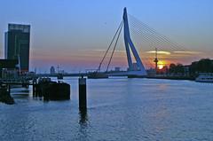 Erasmusbrug en Euromast (renerotterdam) Tags: autumn sunset zonsondergang rotterdam herbst sonneuntergang euromast erasmusbrug renerotterdam