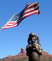 Ice Cream And Old Glory (Foxicat) Tags: red arizona statue bronze interestingness sandstone foxicat rocks jeep offroad deleteme10 flag sedona explore icecream ironoxide 4wheeldrive pinkjeeptours interestingness200 interestingness208 interestingness191 explore20oct05 interestingness207 interestingness205 interestingness204 interestingness202 interestingness210 interestingness196 i500