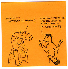 Snakes on a Plane, the movie (idogcow) Tags: orange illustration cat soap comic snake cartoon postit snakesonaplane flickr:user=idogcow arielgirlcatblogspotcom