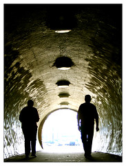 (Trapingus Parish) Tags: city light shadow green lamp silhouette circle lights topv333 couple europa europe hungary shadows searchthebest budapest cities silhouettes tunnel lamps silueta siluetas streetshot hungra nocitiesleft