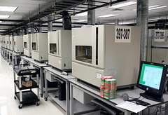 One of many rows of ABI 3730xl automated DNA Analyzers for shotgun sequencing.  At 30 billion base pairs per year, they could now sequence the human genome in months.<br /><br />Craig Venter gave us a tour of TIGR.