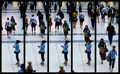Trajectories of life... aka The Spy (fabbio) Tags: liverpoolstreetstation london trainstation crowd people stealing dodgy nicegirl sticchia yellowtshirt life trajectory traiettoriedellavita leviedelsignore recomposition