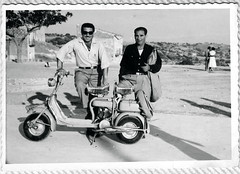 My Dad and his Friend on his Lambretta, Pirandello's home in background. (Vincent Anton / aka Astrovine) Tags: bw italy dad view scooter lambretta 1950s papa sicily freind agrigento monreal giugiu portoempedocle pirandello vigata akragas girgenti inspectormontalbano