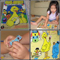 Fun with Colorforms (arkworld) Tags: playing jessie toys mosaic pcss sesamestreet colorforms public4now