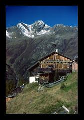 Rustic (Walter Quirtmair) Tags: 2005 blue sky mountains green film barn austria october meadow alm ötztal tyrol swq takenbywalter mountainhut eos300 mountainsalps elevation25003000m kleblealm altitude2911m summitsöldenergrieskogel