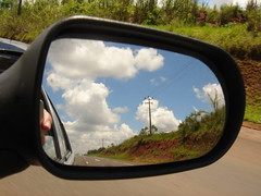 Clouds in the rear-view mirror (marlenells) Tags: blue sky freeassociation topc25 topv111 clouds 1025fav mirror topv333 rearviewmirror topv777 reflexo retrovisor photodrive i500