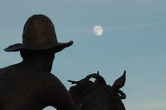 Cowboy and the moon (Citizen Rob) Tags: cowboy moon frisco texas