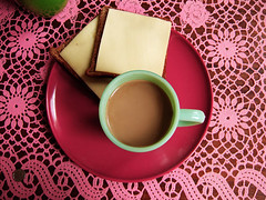 breakfast (johanna) Tags: home coffee pinkngreen breakfast toast tablecloth kitchentable iateit